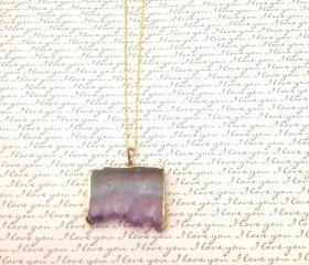 Gold Dipped Amethyst Pendant Necklace